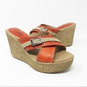 Azura Vera Pelle Orange Espadrille Wedge Sandals